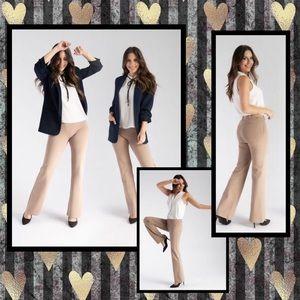 BETABRAND Dress Yoga Pants Boot Cut Khaki Petite S